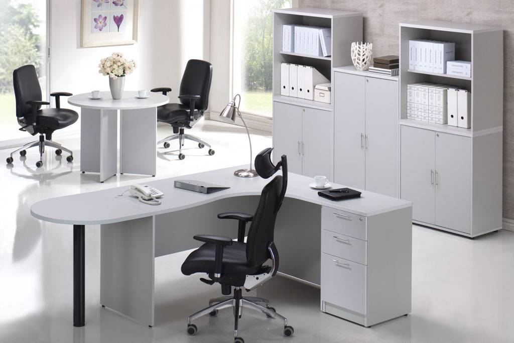 Light grey office furniture