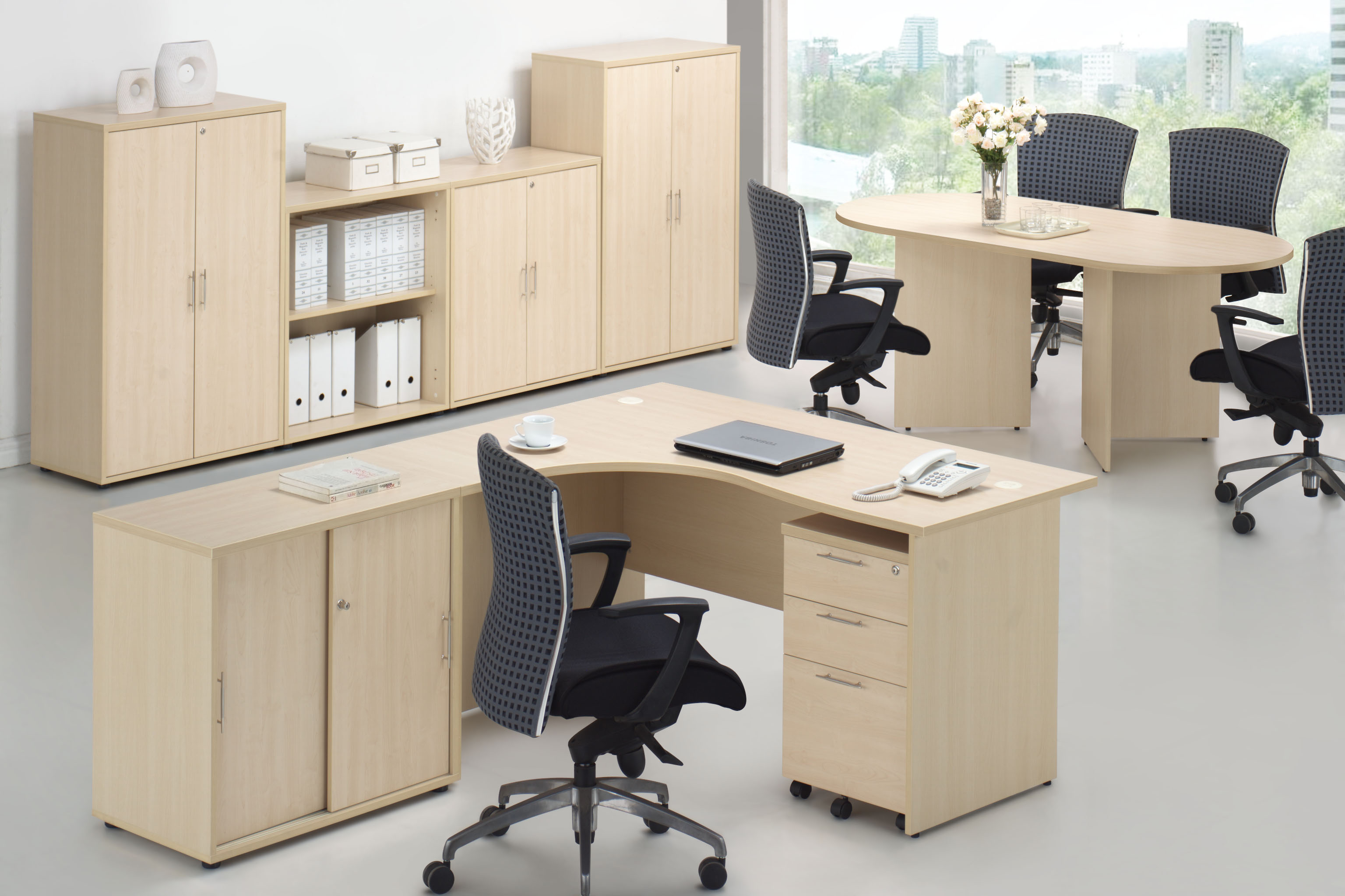 Maple wood color office furniture