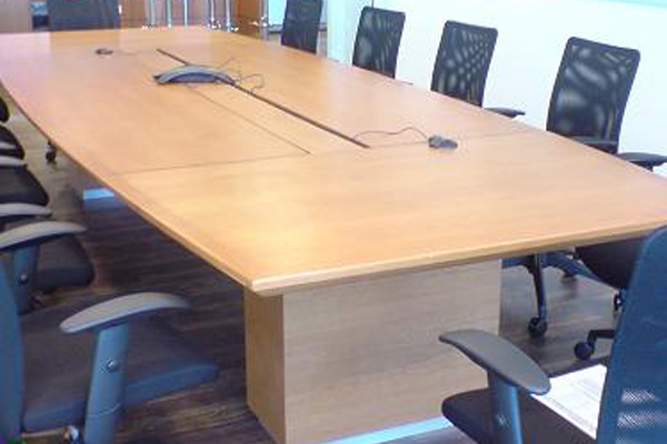 conference table with wood veneer finishes