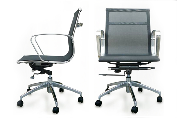 mesh chair with steel armrest