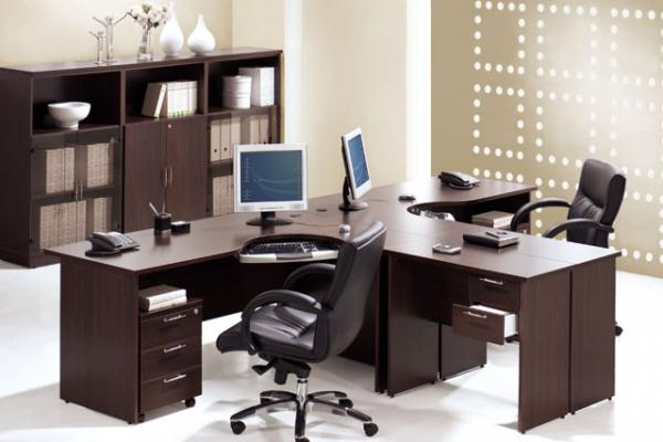 Walnut color workstations