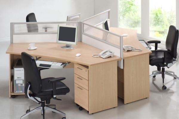 cluster of 3 workstations with desking panels